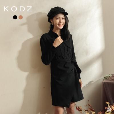 東京著衣-KODZ 時尚名媛排釦一片裙造型洋裝(共二色)