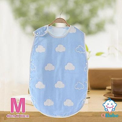 QBabe 全棉六層紗 寶寶兒童四季防踢被-藍色雲朵-M