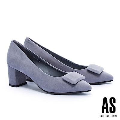 高跟鞋 AS 都會摩登方飾釦全真皮尖頭粗跟高跟鞋-灰