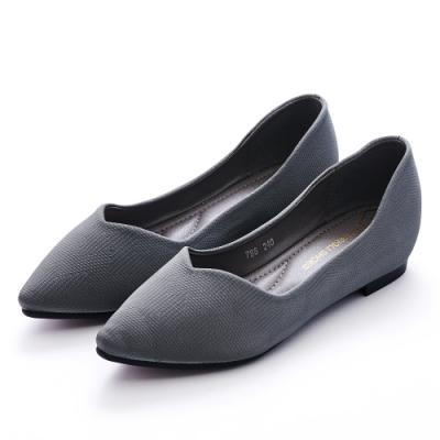 A one 尖頭仿針織布V口剪裁內增高平底包鞋-灰色