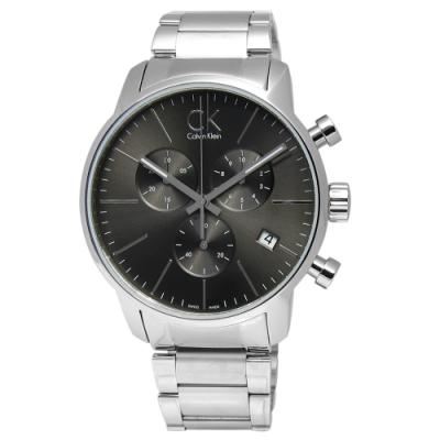CK CITY 城市時尚 三環計時 不鏽鋼腕錶-灰色/43mm