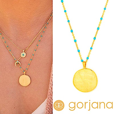 GORJANA 細緻髮絲紋硬幣項鍊 土耳其藍星辰豆豆項鍊 Capri Coin