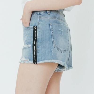 H:CONNECT 韓國品牌 女裝-織帶滾邊破損牛仔短褲-藍