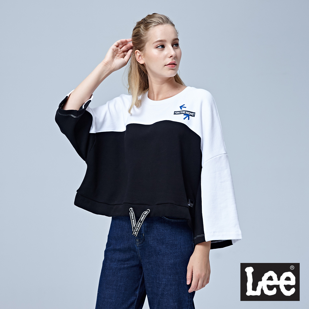Lee 落肩圓領七分袖厚TEE/UR-黑色