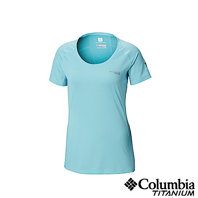 Columbia 哥倫比亞女款-鈦 涼感快排短袖上衣-藍色 UAR26500BL