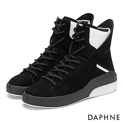 達芙妮DAPHNE 休閒鞋-異材質撞色拼接高筒綁帶休閒鞋-黑