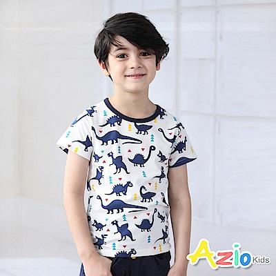 Azio Kids 上衣 三角形滿版恐龍短袖T恤(白)