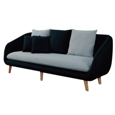 文創集 古斯現代風亞麻布獨立筒三人座沙發椅-212x80x81cm免組