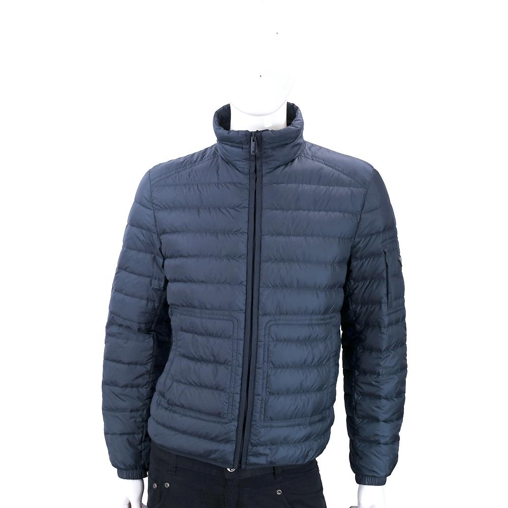 PRADA 三角牌撞色內裡深藍色絎縫羽絨外套(男款)