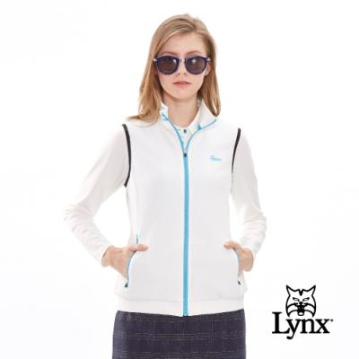 【Lynx Golf】女款保暖舒適緹織領口配條跳色拉鍊無袖背心-牙白色