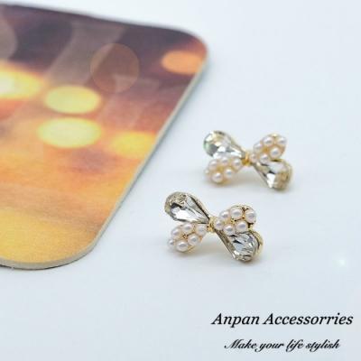 【ANPAN愛扮】韓東大門百搭仙氣珍珠水晶蝴蝶結925銀耳針式耳環