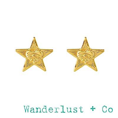 Wanderlust+Co 神秘之眼星星金色耳環 立體光芒款 STELLA STUD