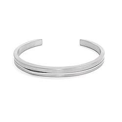 agnes b. 經典雙色C型白鋼女手環(銀)