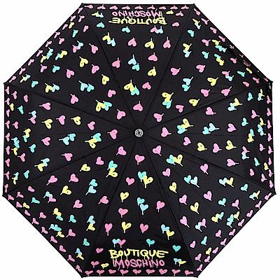 BOUTIQUE MOSCHINO 多彩愛心塗鴉自動摺疊晴雨傘(黑色)