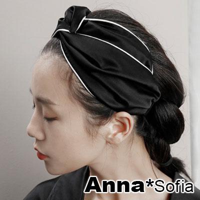 AnnaSofia 滾白邊滑感交叉結 彈性寬髮帶(酷黑系)