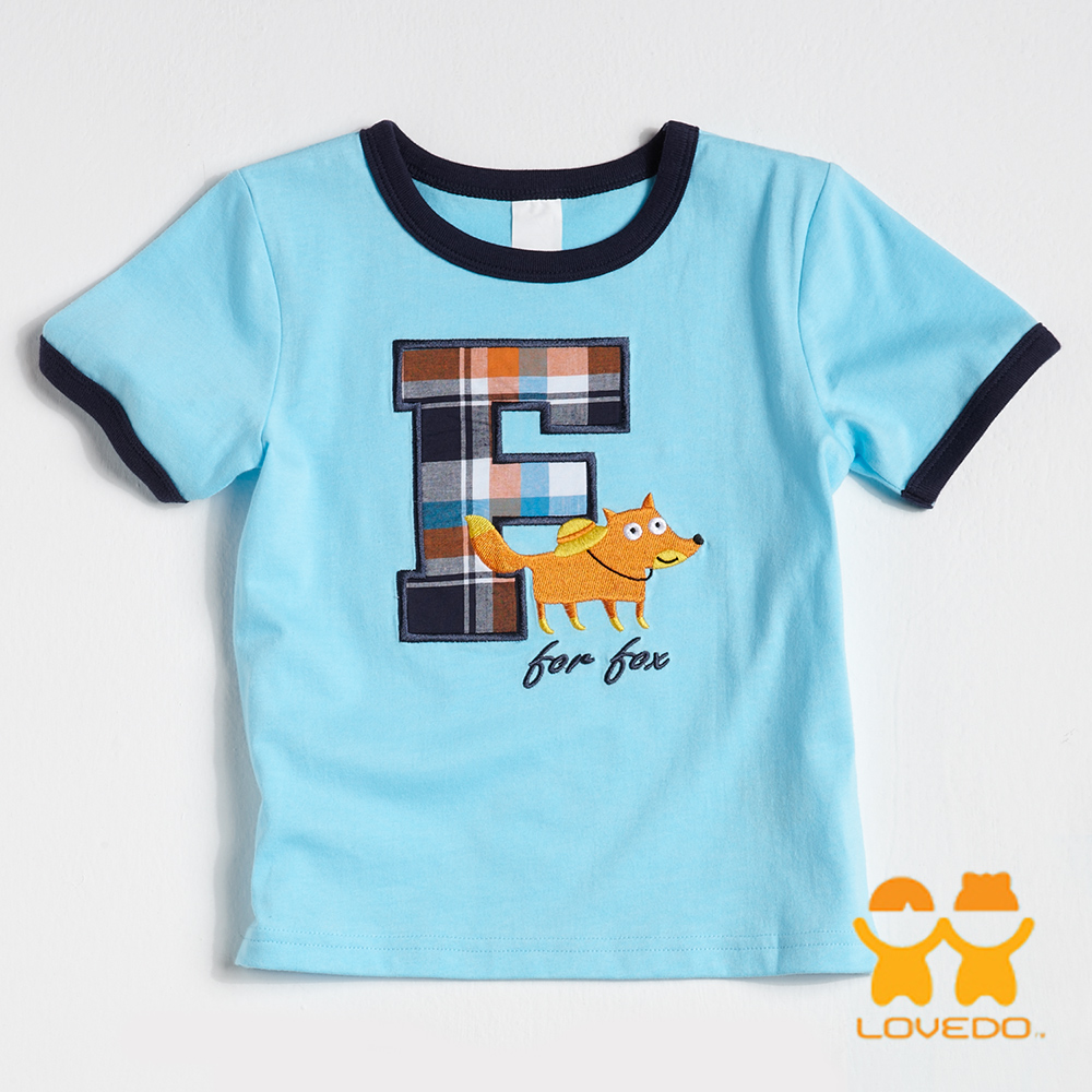 【LOVEDO-艾唯多童裝】潮流字母F 短袖T恤 (藍)