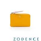 ZODENCE 義大利羊皮柔軟拉鍊帶設計零錢包 黃