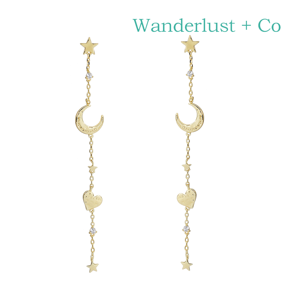 Wanderlust+Co 澳洲時尚品牌 Astra新月垂墜式耳環 金色