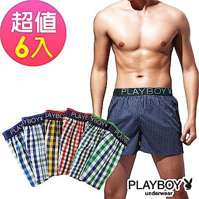 [團購]PLAYBOY LOGO織帶五片式格紋四角褲(6件組)