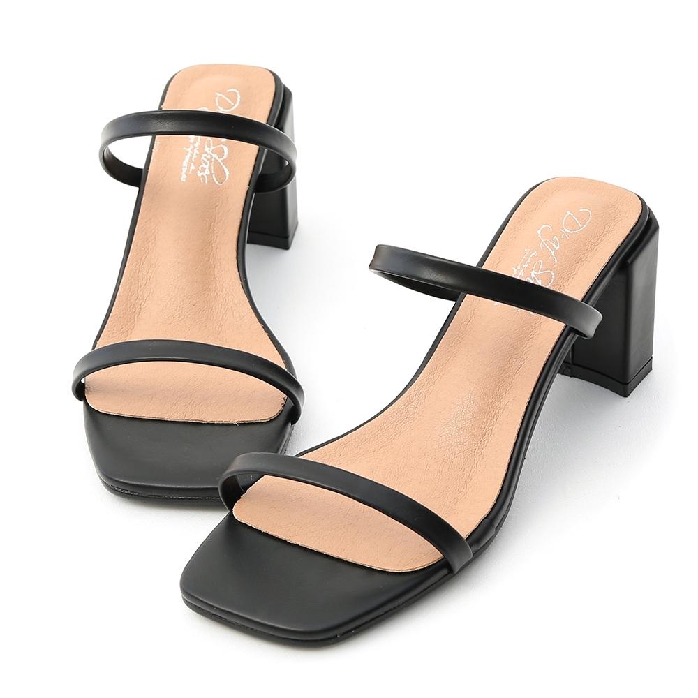 D+AF 時尚美型.一字雙帶方頭高跟涼鞋*黑