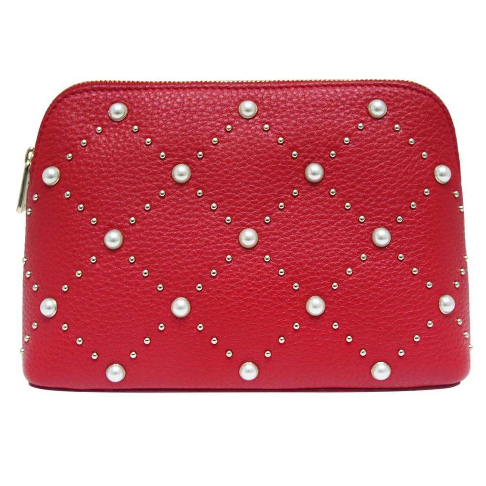 Kate spade hayes street pearl 飾珍珠牛皮化妝包-紅色