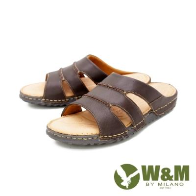 W&M(男)皮質寬帶拖鞋 男鞋 - 咖(另有黑)