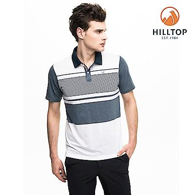 【hilltop山頂鳥】男款吸濕快乾抗菌彈性抗UV條紋polo衫S14MH0黑藍/ 白