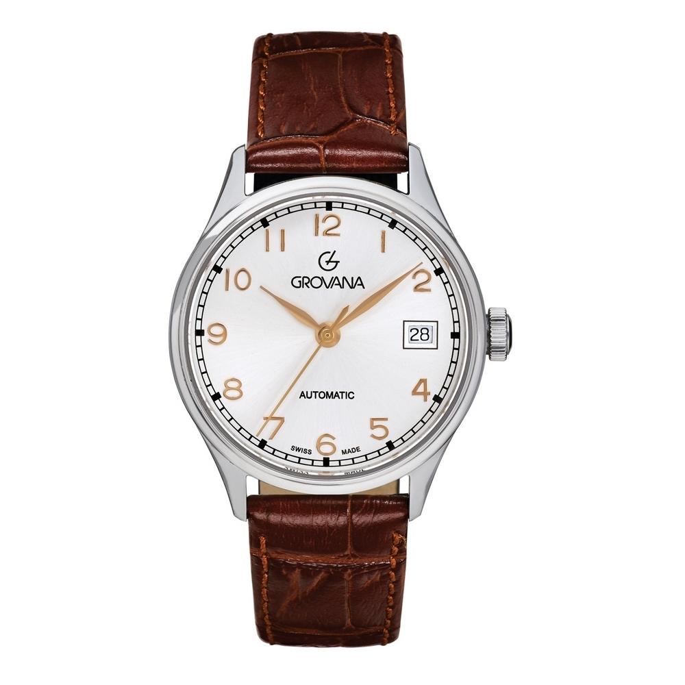 (福利品) GROVANA瑞士錶 自動機械女錶(3190.2528)-銀面x棕皮帶/35mm