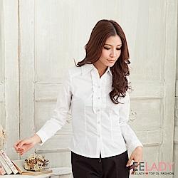 EELADY-胸襟荷葉線條長袖襯衫