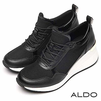 ALDO 原色異材質拼接交叉綁帶厚底休閒鞋~尊爵黑色