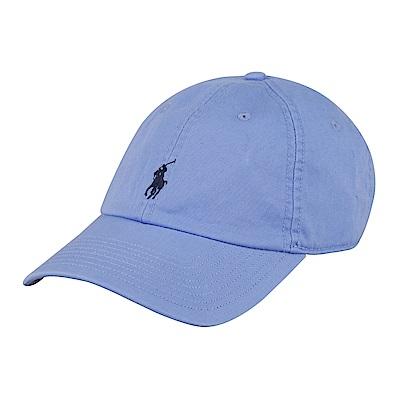 POLO 經典深藍馬LOGO帆布鴨舌帽(淺藍)