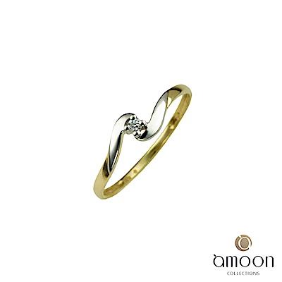 amoon 浪漫雙子星系列 擁抱 K金鑽石戒指