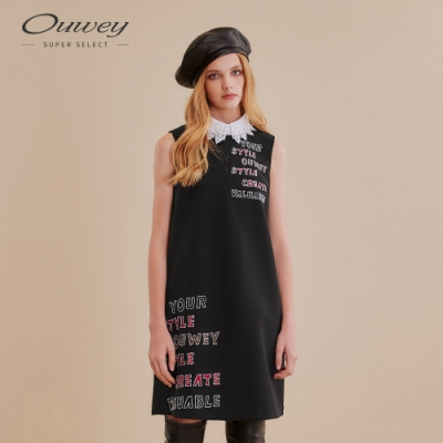 OUWEY歐薇 俏麗字母刺繡無袖洋裝(黑)
