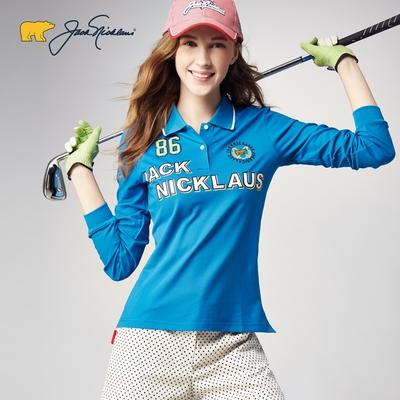 【Jack Nicklaus】金熊GOLF女款吸濕排汗POLO衫-藍色