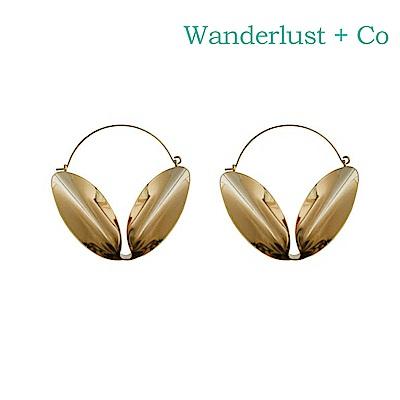 Wanderlust+Co 澳洲時尚品牌 V型圓環耳環 金色