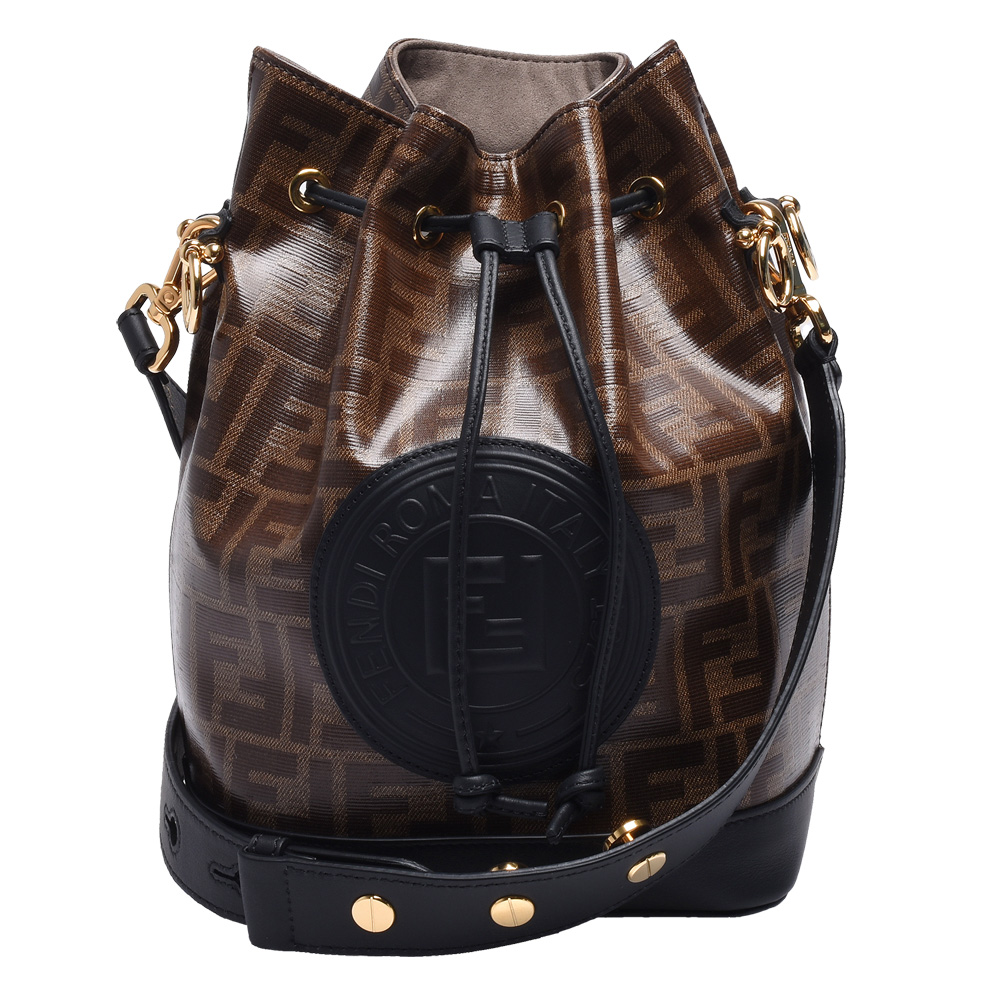 FENDI MON TRESOR經典品牌LOGO帆布包身牛皮飾邊肩/斜背水筒包(小-黑)