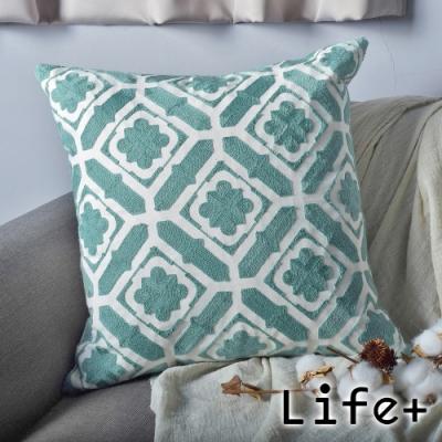 Life Plus 幾何繡花 棉麻舒適方型抱枕.靠枕 (綠窗花)
