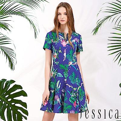 JESSICA - 繽紛植物印花修身洋裝(藍)