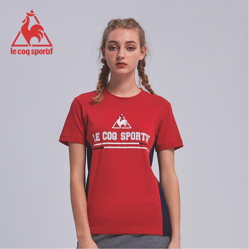 le coq sportif 法國公雞牌撞色品牌印花短袖T恤 男女-紅