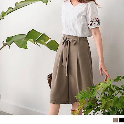 純色打褶腰綁帶雪紡五分褲裙-OB大尺碼
