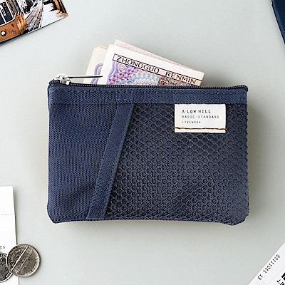 Livework 休閒風雙層對摺票卡零錢包V2-海軍藍