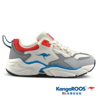 KangaROOS 美國袋鼠鞋 女 SWING 復古籃球老爹鞋/休閒鞋(灰/藍/紅-KW01188)