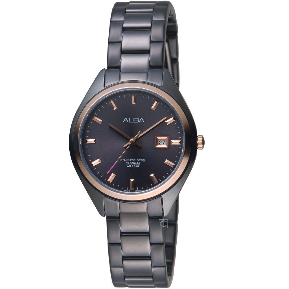 ALBA雅柏漫步都會時尚腕錶(AH7R20X1 VJ22-X280K)-黑X玫瑰金