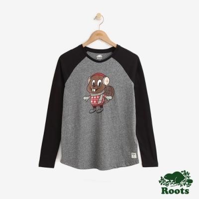 Roots 女裝-可愛海狸棒球T恤-灰