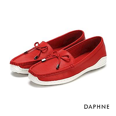 達芙妮DAPHNE 平底鞋-真皮蝴蝶結舒軟平底鞋-紅
