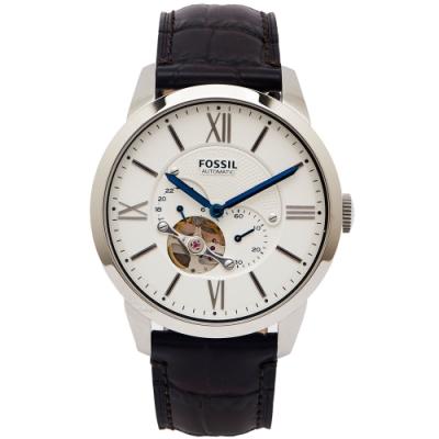 FOSSIL 簍空設計款圓弧鏡面的機械手錶(ME3167)-白面/44mm