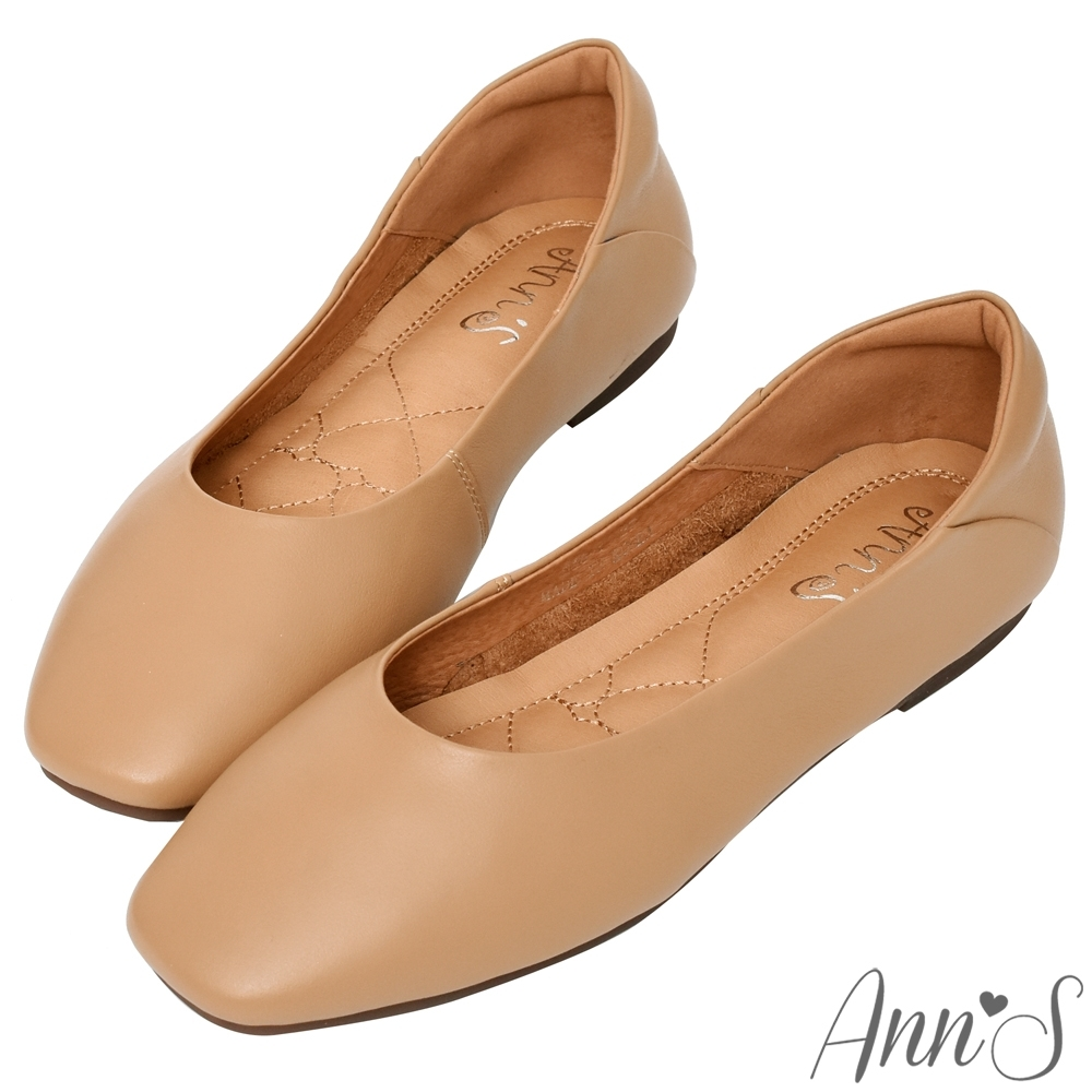 Ann'S全真皮牛皮時髦顯瘦方頭平底鞋-棕