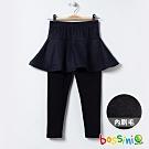 bossini女童-丹寧針織短裙附內搭褲(內磨毛)牛仔藍
