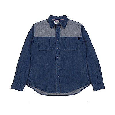 Timberland 男款丹寧藍拼接River牛仔襯衫 | A1LXPL71