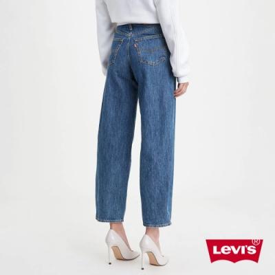 Levis 女款 Balloon 時髦高腰繭型褲 中藍水洗 及踝款